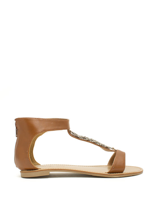 Braid Runner Jeweled Twist Sandals RUST