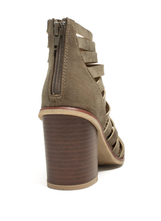 Slashed Laddered Booties CAMEL