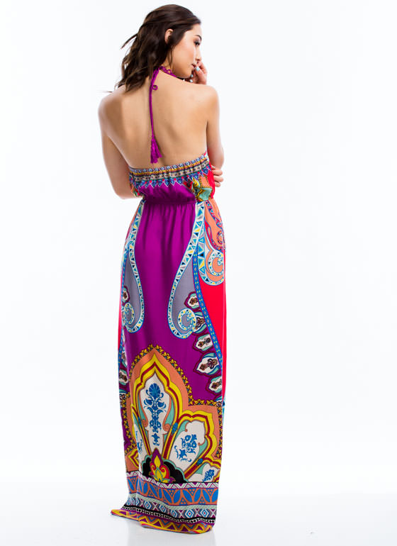 All Over The Placed Print Halter Maxi PURPLE
