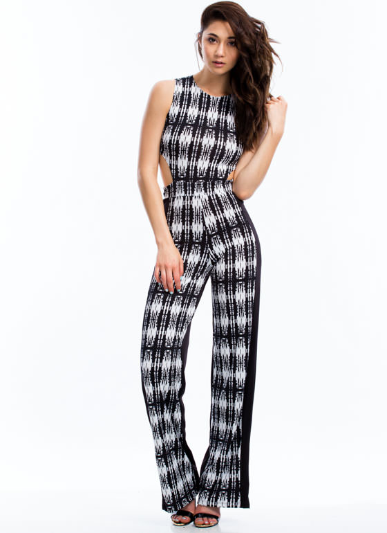 Look Closely Abstract Cut-Out Jumpsuit BLACK