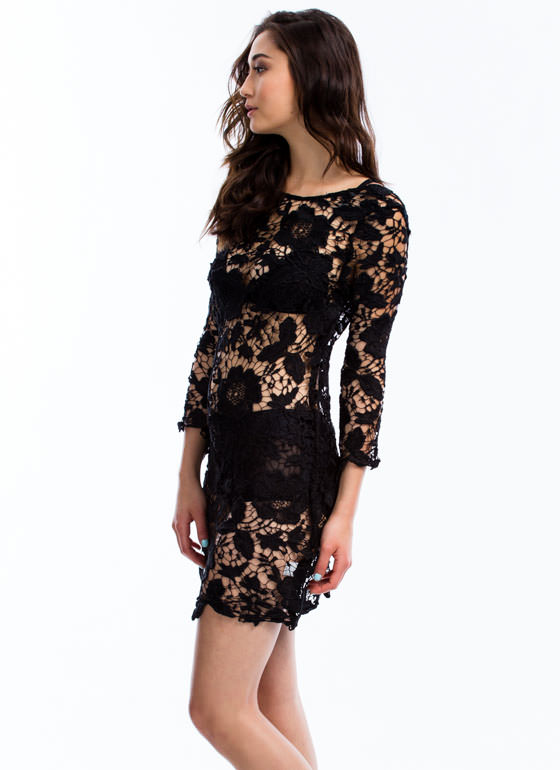 Out In The Open Crochet Dress BLACK