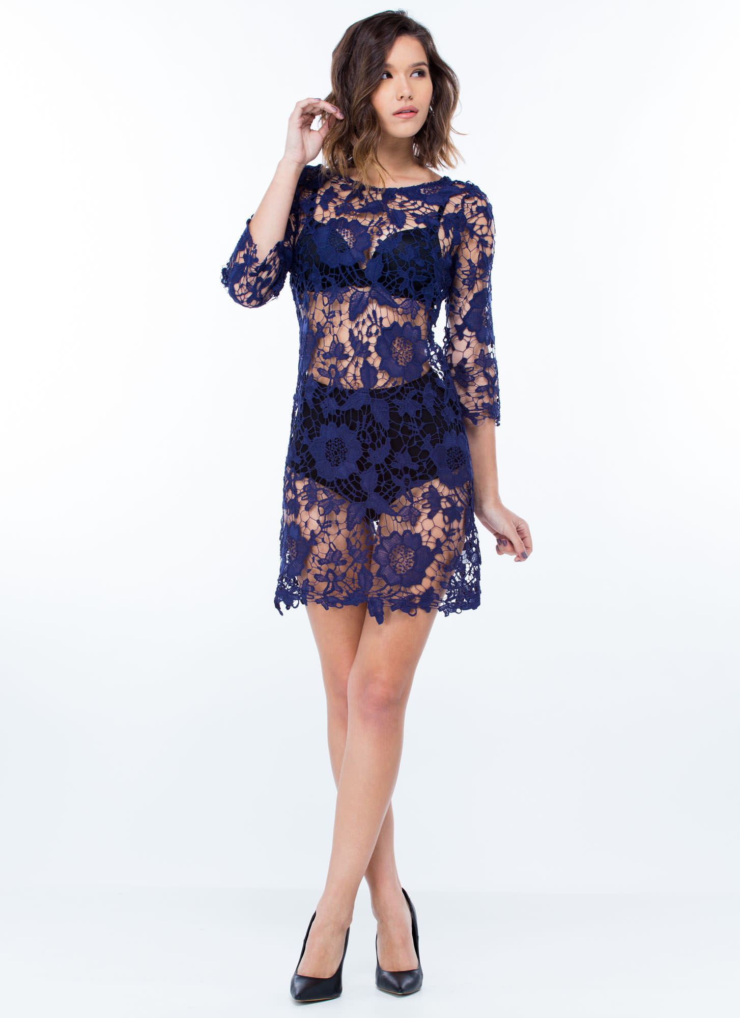 Out In The Open Crochet Dress NAVY