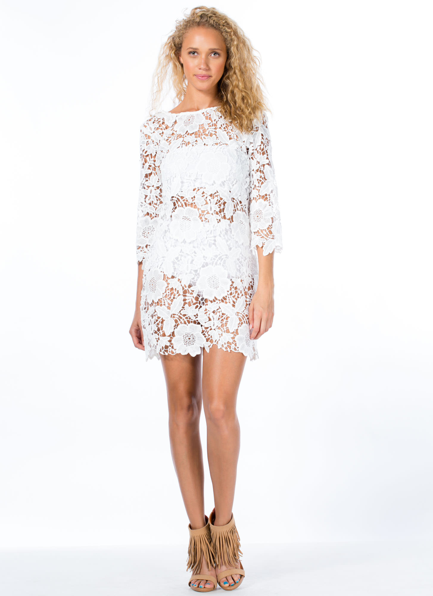 Out In The Open Crochet Dress WHITE