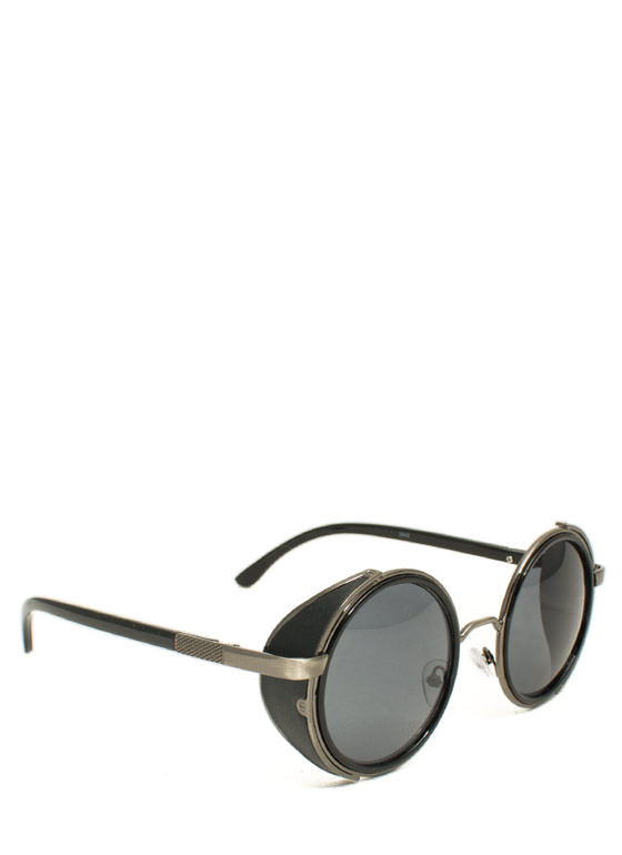 Faux Leather Round Sunglasses PEWTERBLK