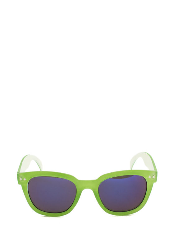Matte Frame Reflective Sunglasses GREEN