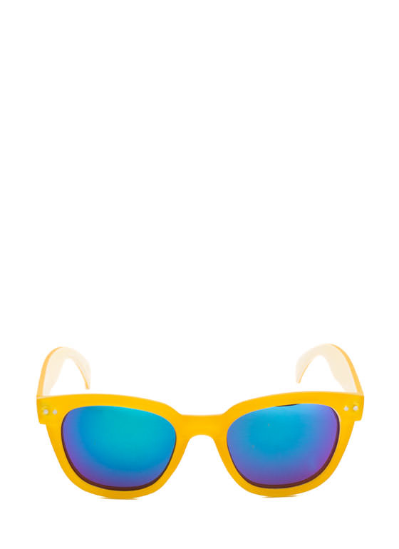 Matte Frame Reflective Sunglasses YELLOW