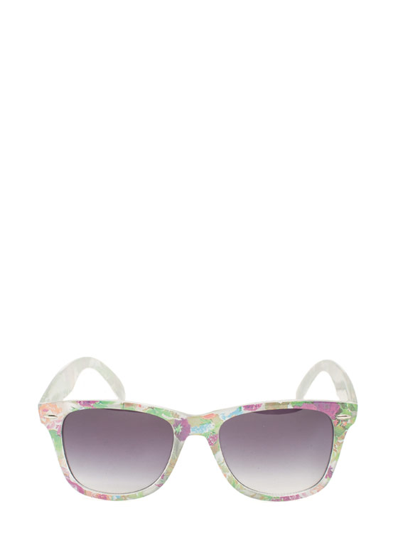 Square Floral Sunglasses WHITE