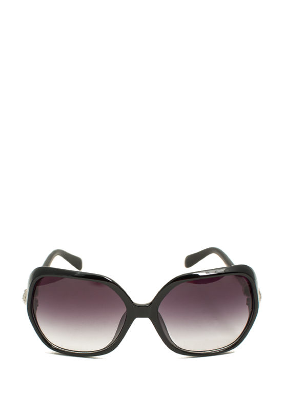 Oversized Jeweled Creature Sunglasses BLACKSILVER