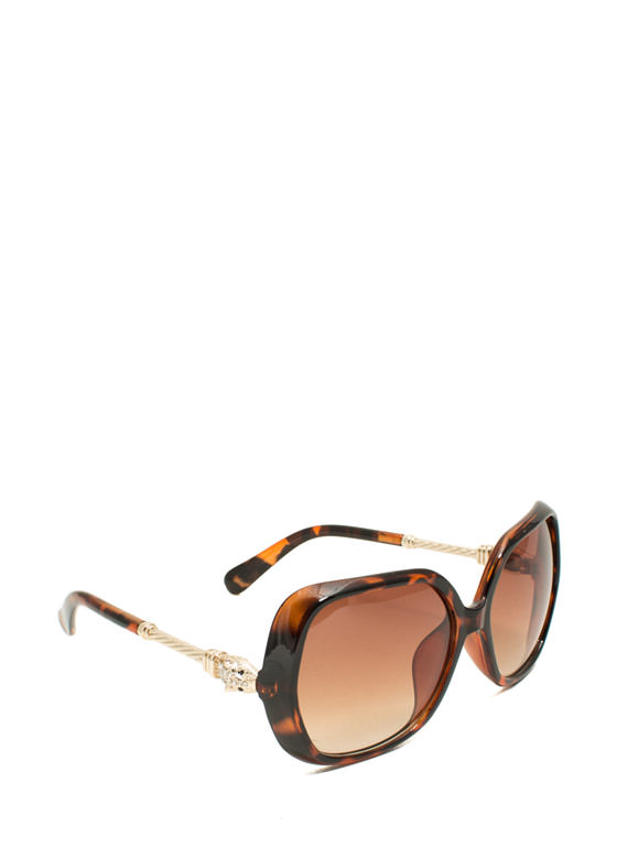 Oversized Jeweled Creature Sunglasses TORTGOLD
