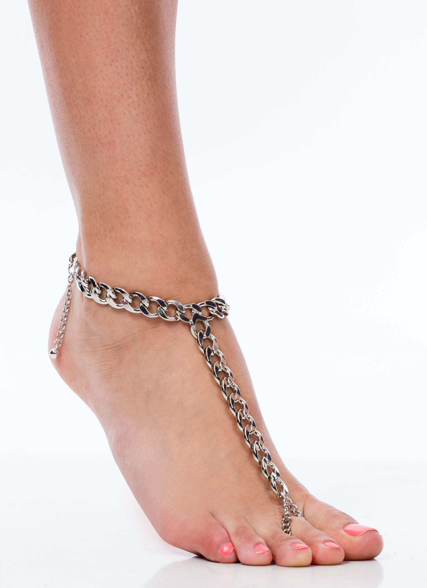 Curb Link Chain Ankle Bracelet SILVER