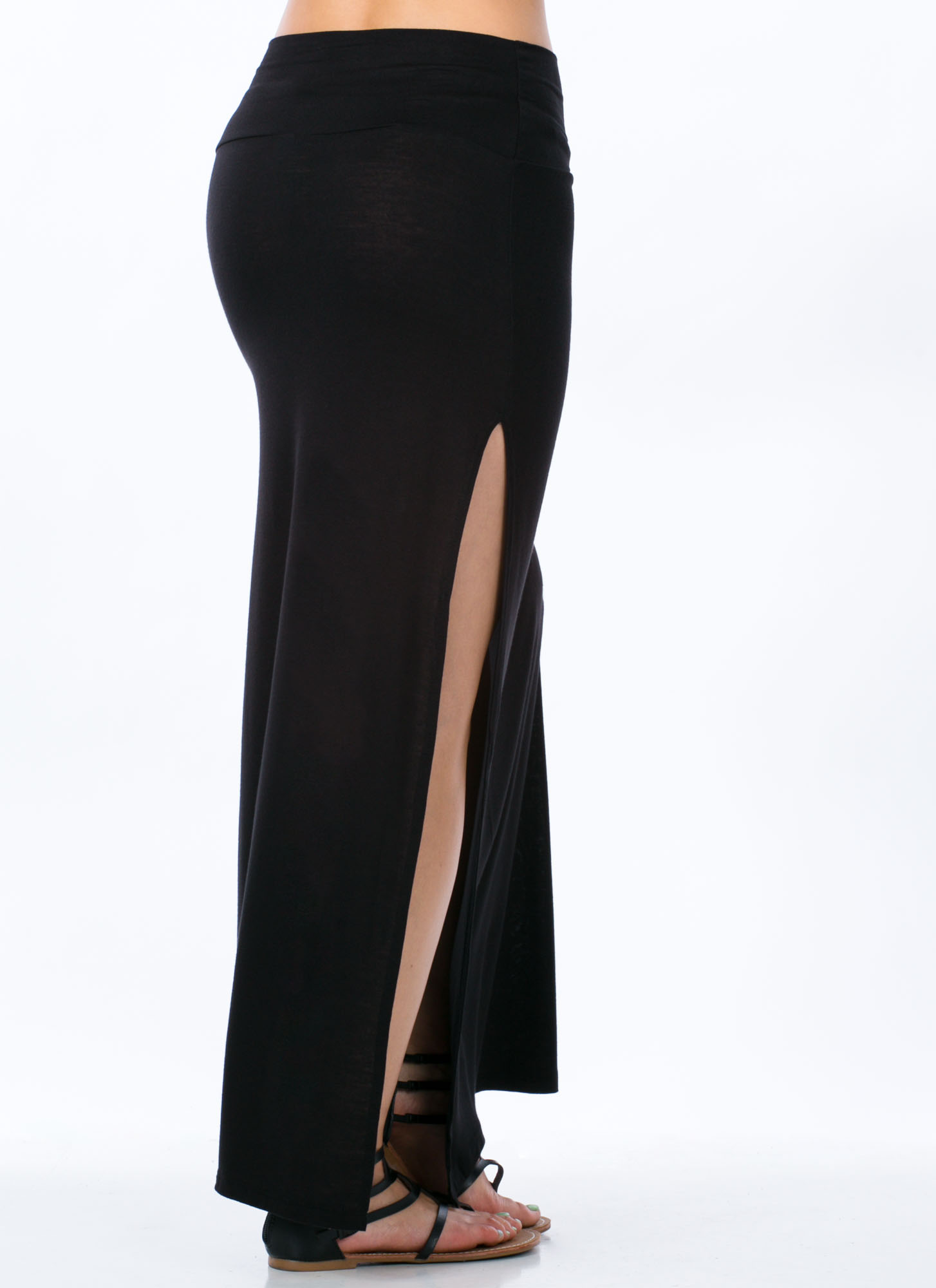 Double Trouble Slit Maxi Skirt BLACK