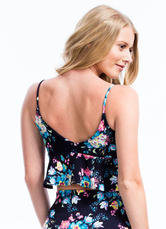 Flower Painting Strappy Peplum Top NAVY