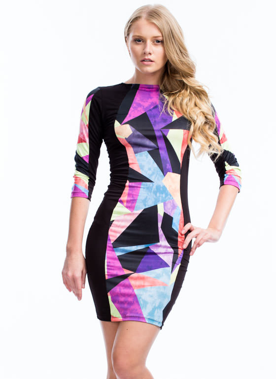 Shapin' Up Hourglass Bodycon Dress PURPLEMULTI