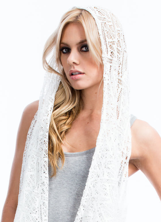 Diamond Patterned Crochet Vest WHITE