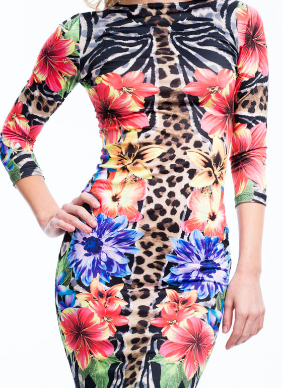 Tropical Animal Bodycon Dress BROWNMULTI