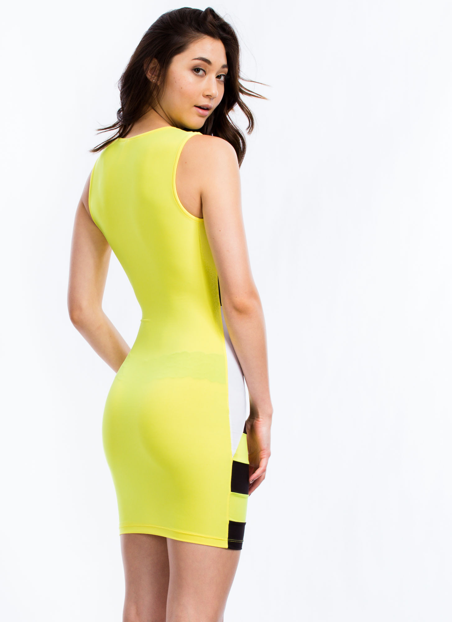 Geo Angles Mesh Inset Dress YELLOW