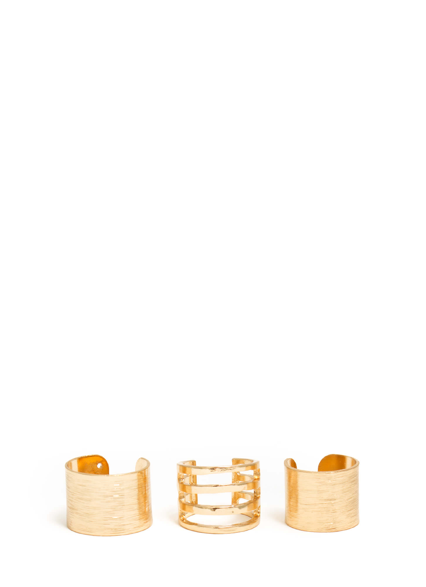 Brushed And Cut-Out Ring Trio GOLD