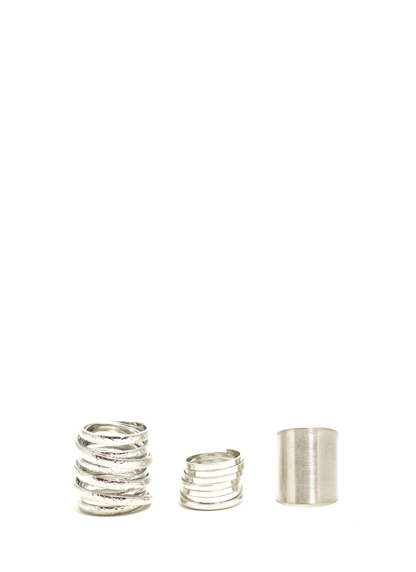 Coiled And Wrapped Metal Ring Trio SILVER
