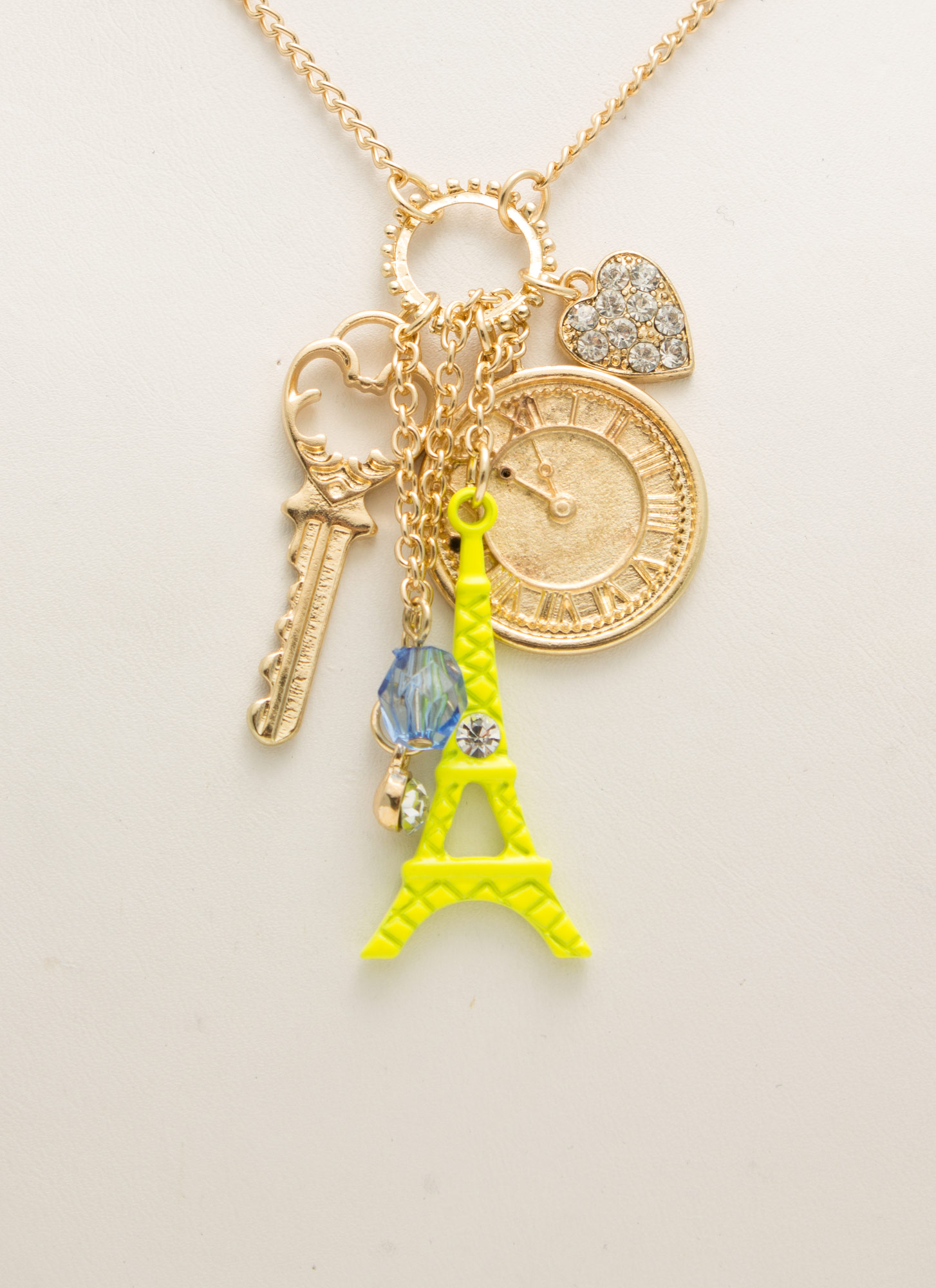 Paris Is 4 Lovers Charm Necklace GOLDNYLLW