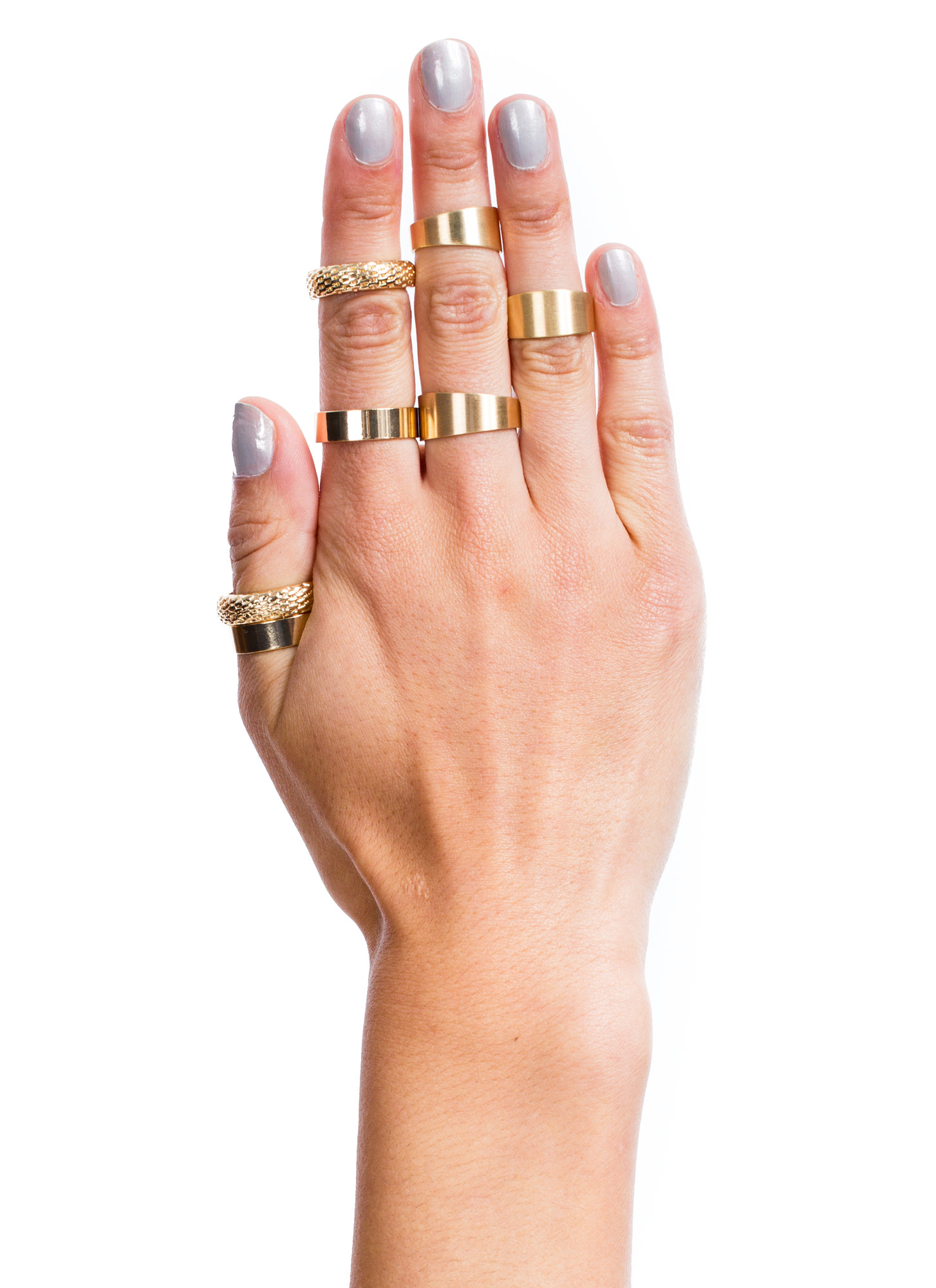 Mixed Bag Seven-Piece Ring Set GOLD