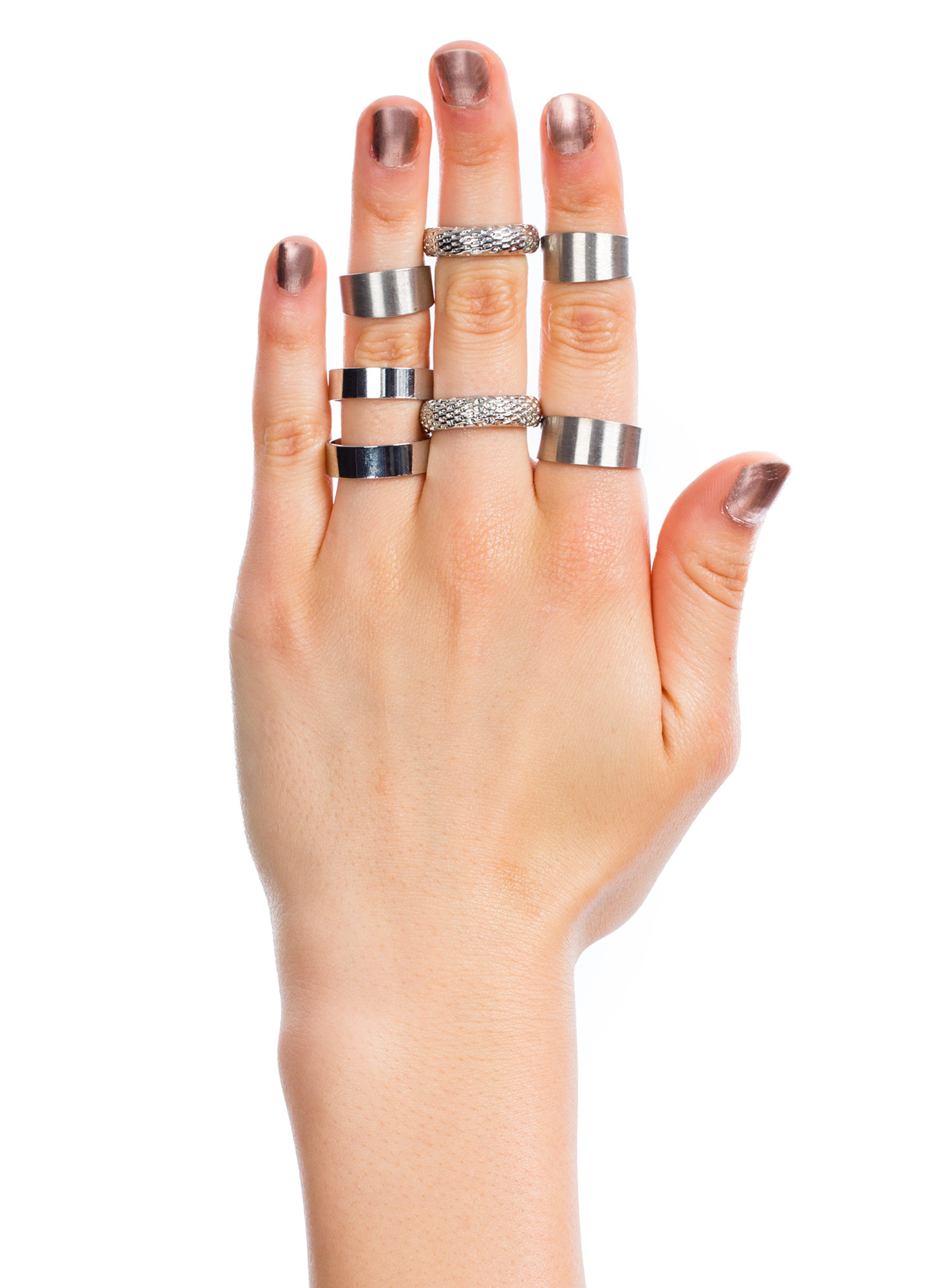 Mixed Bag Seven-Piece Ring Set SILVER