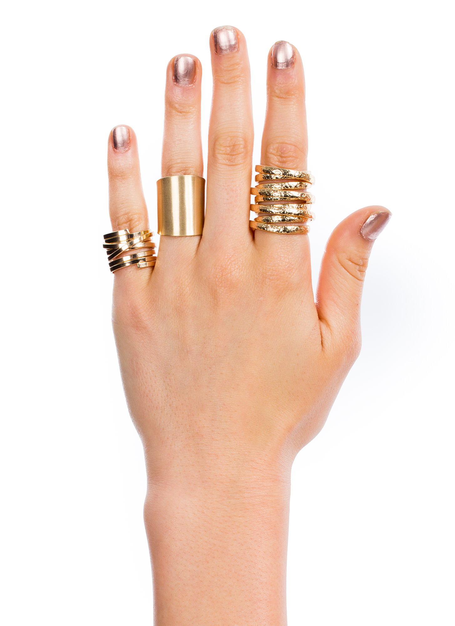 Wrapped And Coiled 3-Piece Ring Set GOLD