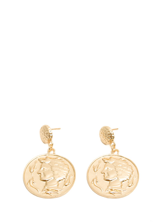 Textured Coin Medallion Earrings GOLD