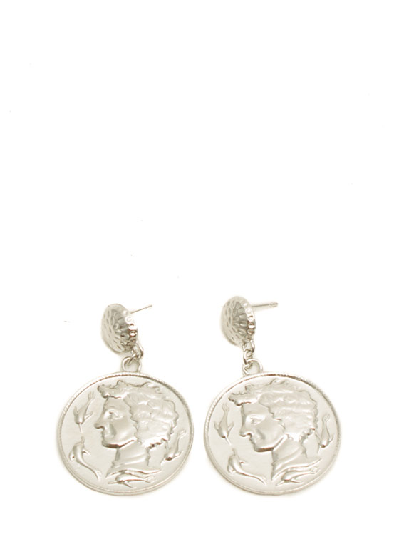 Textured Coin Medallion Earrings SILVER