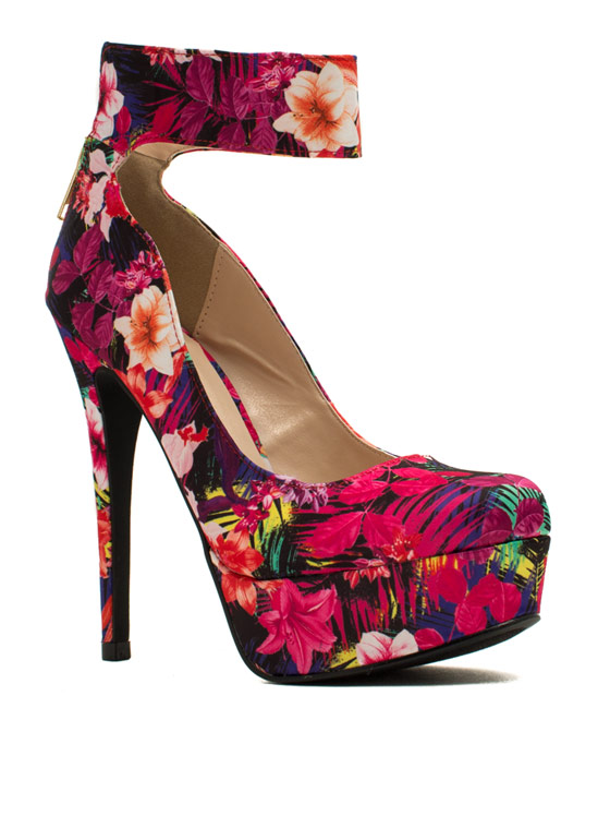 Just Cuff Me Tropical Print Platforms FUCHSIA