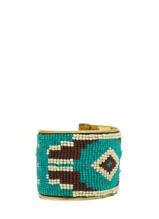 Tribal Inspired Tapestry Beaded Cuff TURQMULTI (Final Sale)