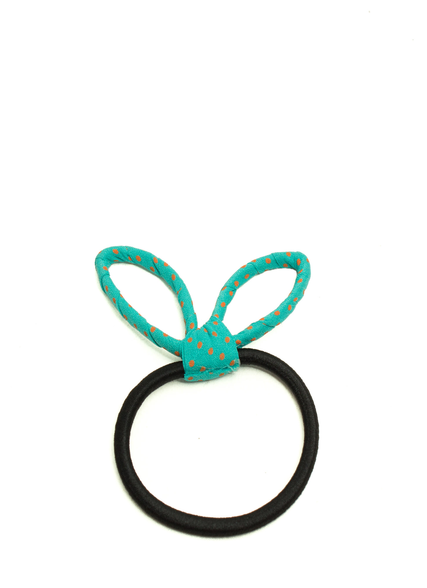 Polka Dot Bunny Ear Hair Tie TEAL  (Final Sale)