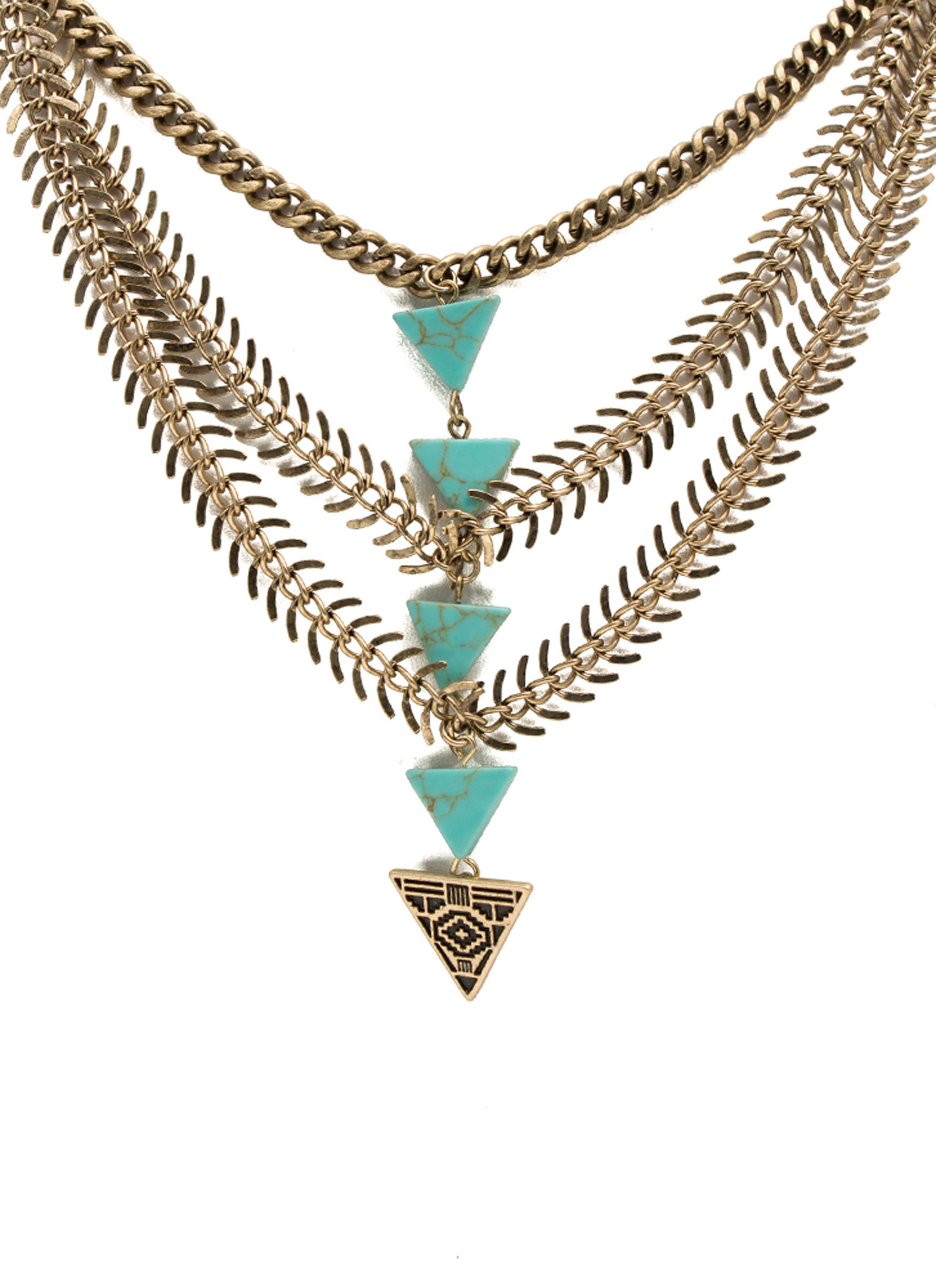 Layered Tribal Stones Necklace GOLDTURQ