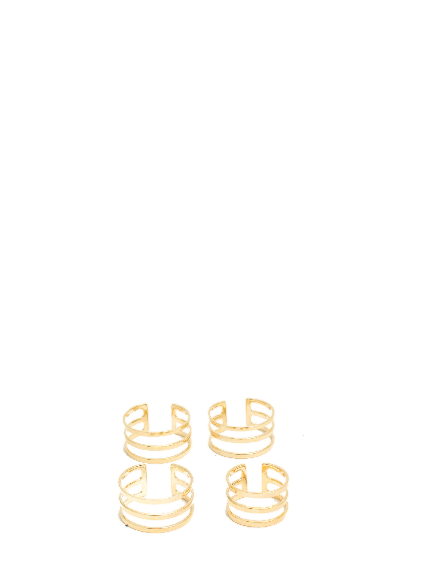 Banded Cut-Out Ring Set GOLD