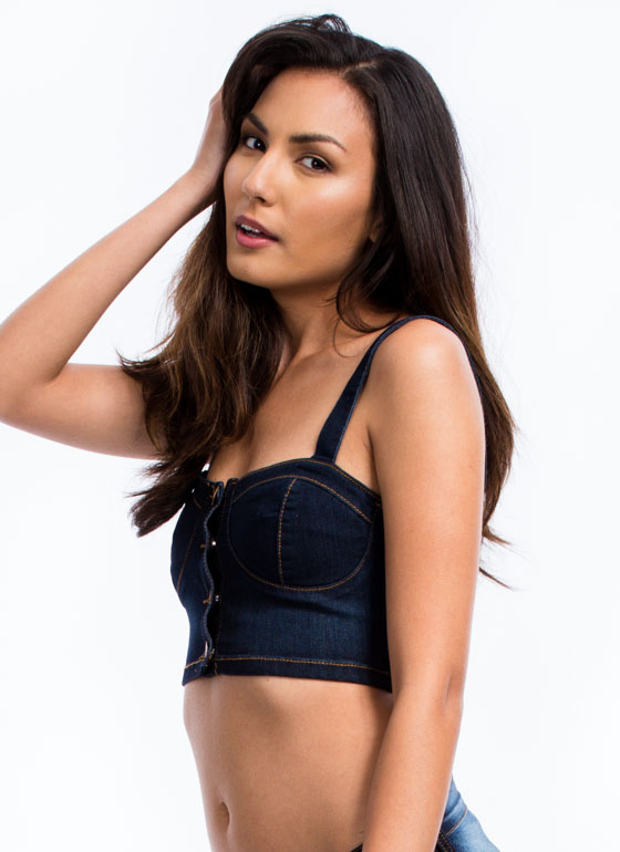 Denim Daze Bustier Cropped Top BLUE