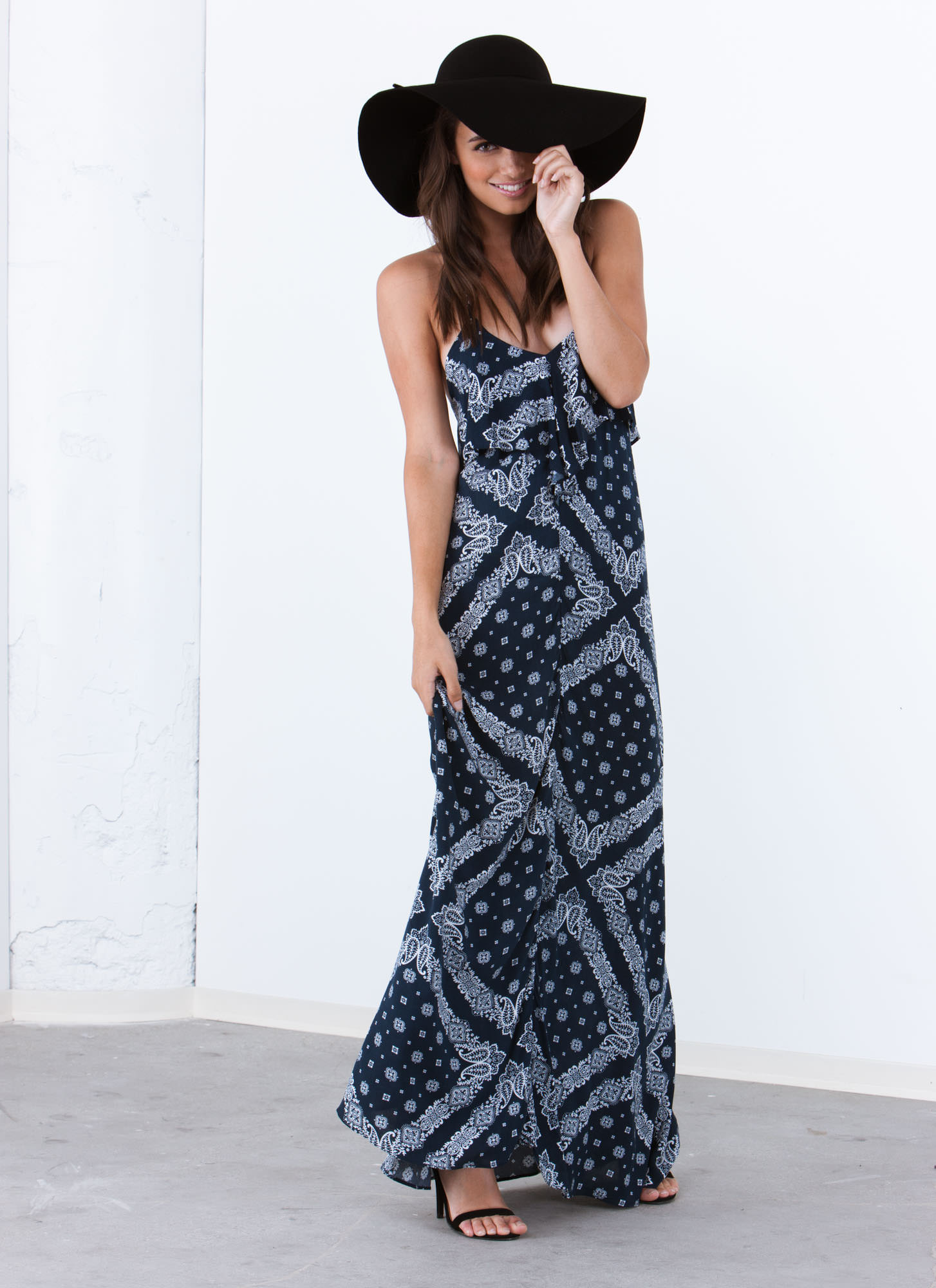 Marching Bandana Strappy Maxi Dress NAVY