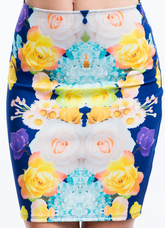 Mirrored Floral Bouquet Skirt NAVY