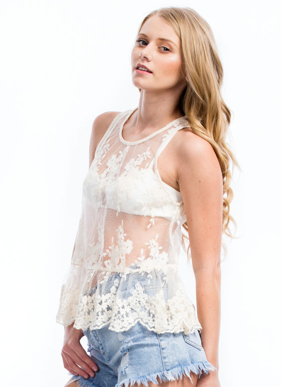 Scalloped Lace Embroidered Tank NATURAL
