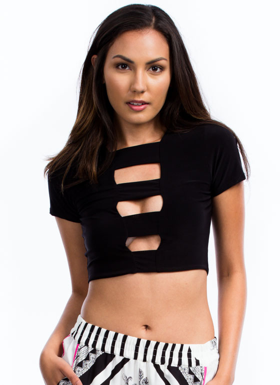 Ladder Of Success Strappy Cropped Top BLACK
