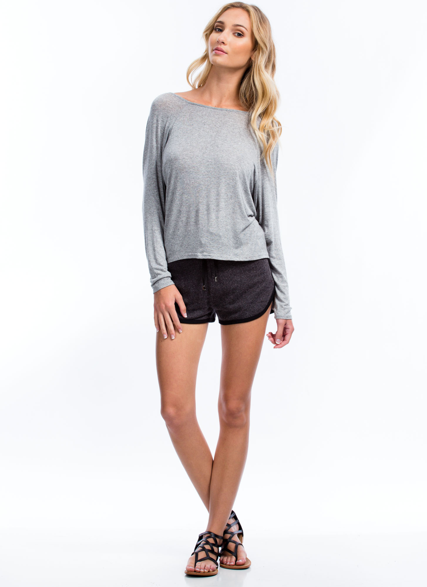 Sporty French Terry Shorts CHARCOAL