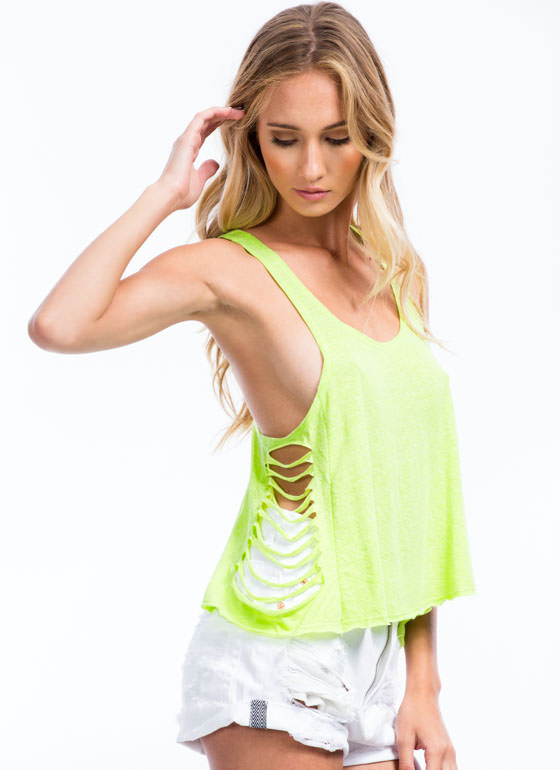 Love You To Shreds Slashed Tank Top NEONGREEN