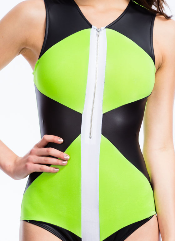 Just Tri It Triangle Panel Bodysuit NEONGREEN