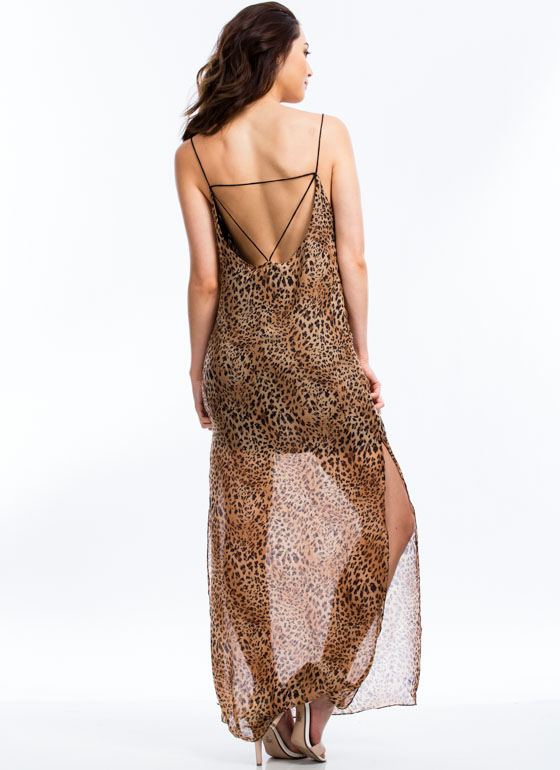 Get Spotted Strappy Leopard Maxi BROWN