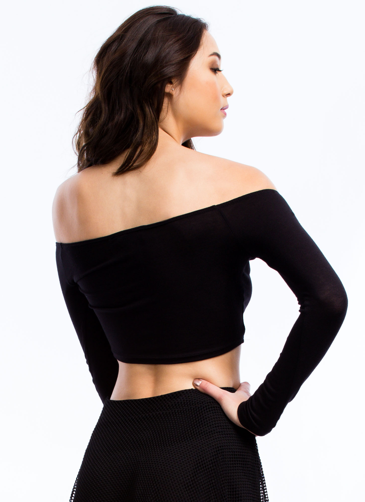 Shrug It Off-Shoulder Cropped Top BLACK