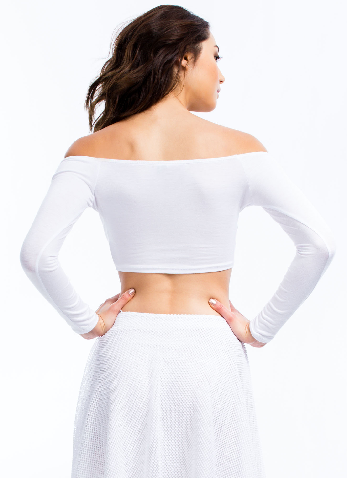 Shrug It Off-Shoulder Cropped Top WHITE