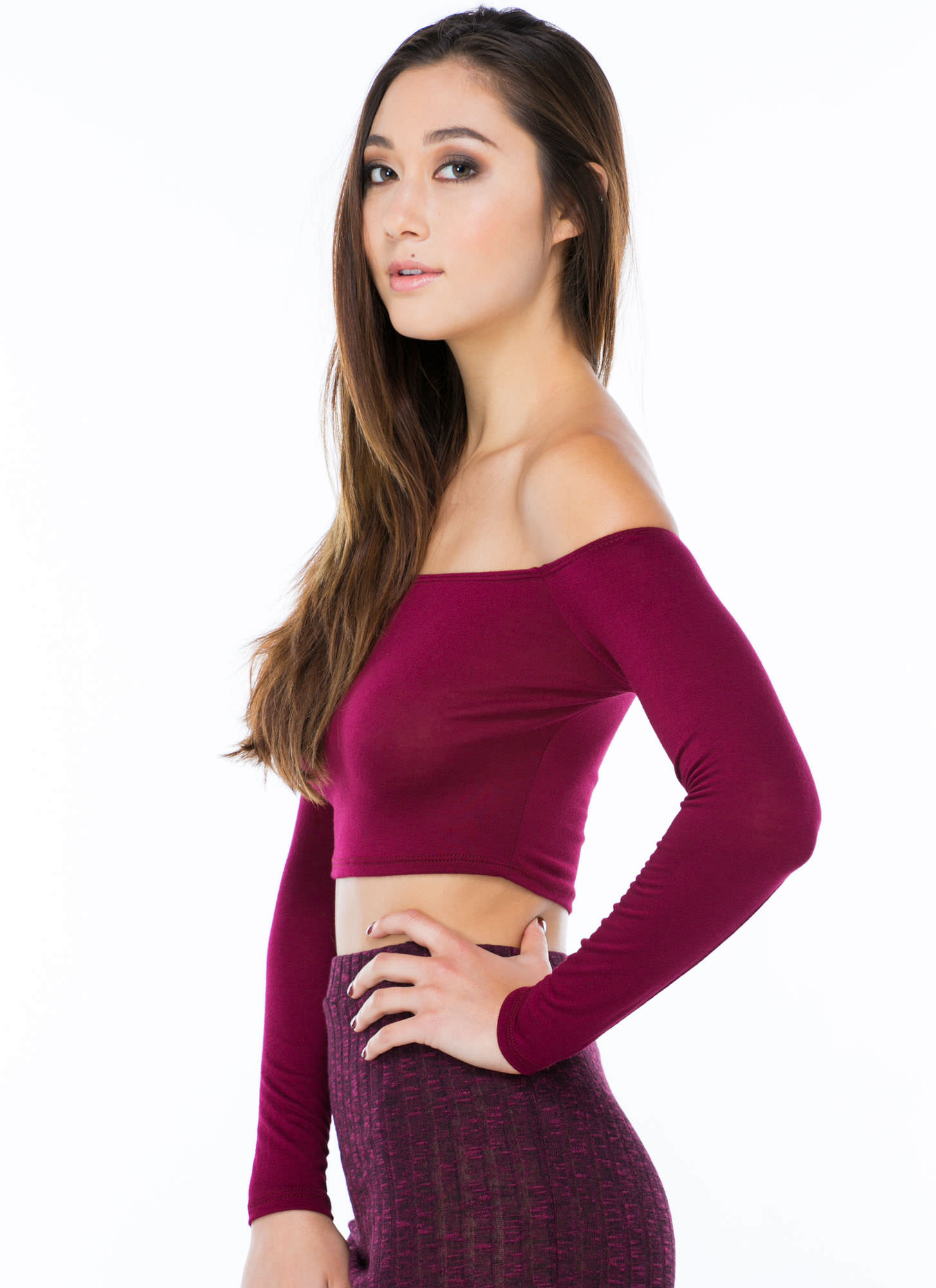 Shrug It Off-Shoulder Cropped Top WINE