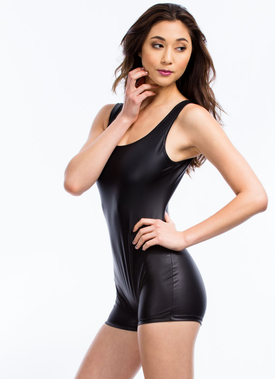So Slick Faux Leather Leotard Romper BLACK