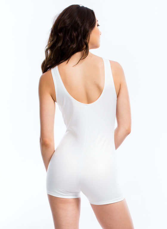 So Slick Faux Leather Leotard Romper WHITE