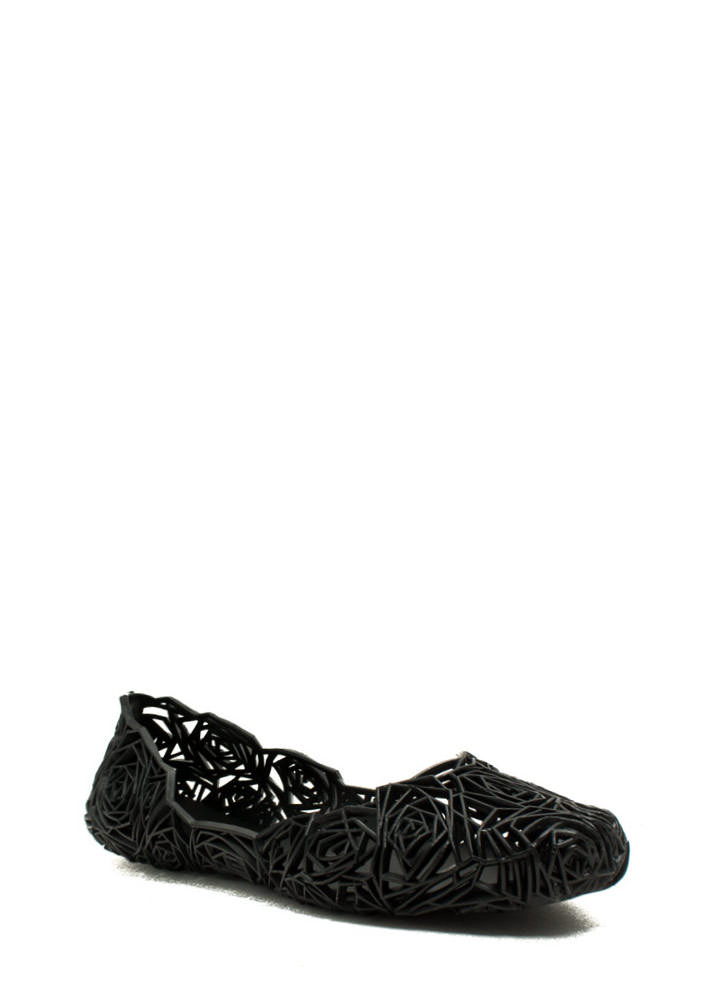 Rose And Shine Cut-Out Jelly Flats BLACK