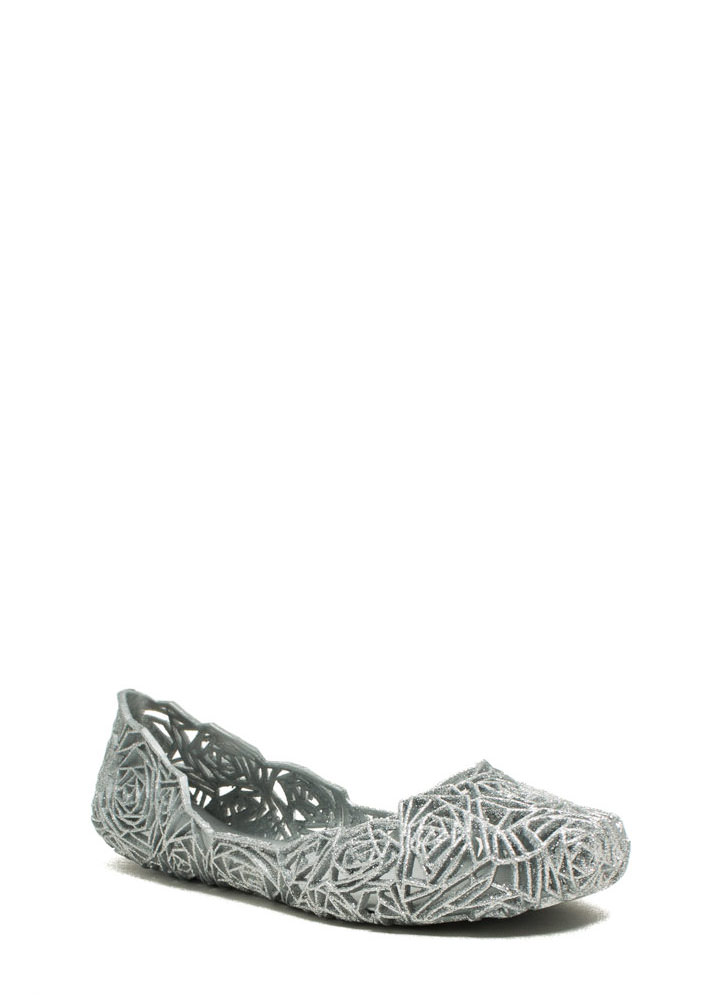 Rose And Shine Cut-Out Jelly Flats SILVER (Final Sale)