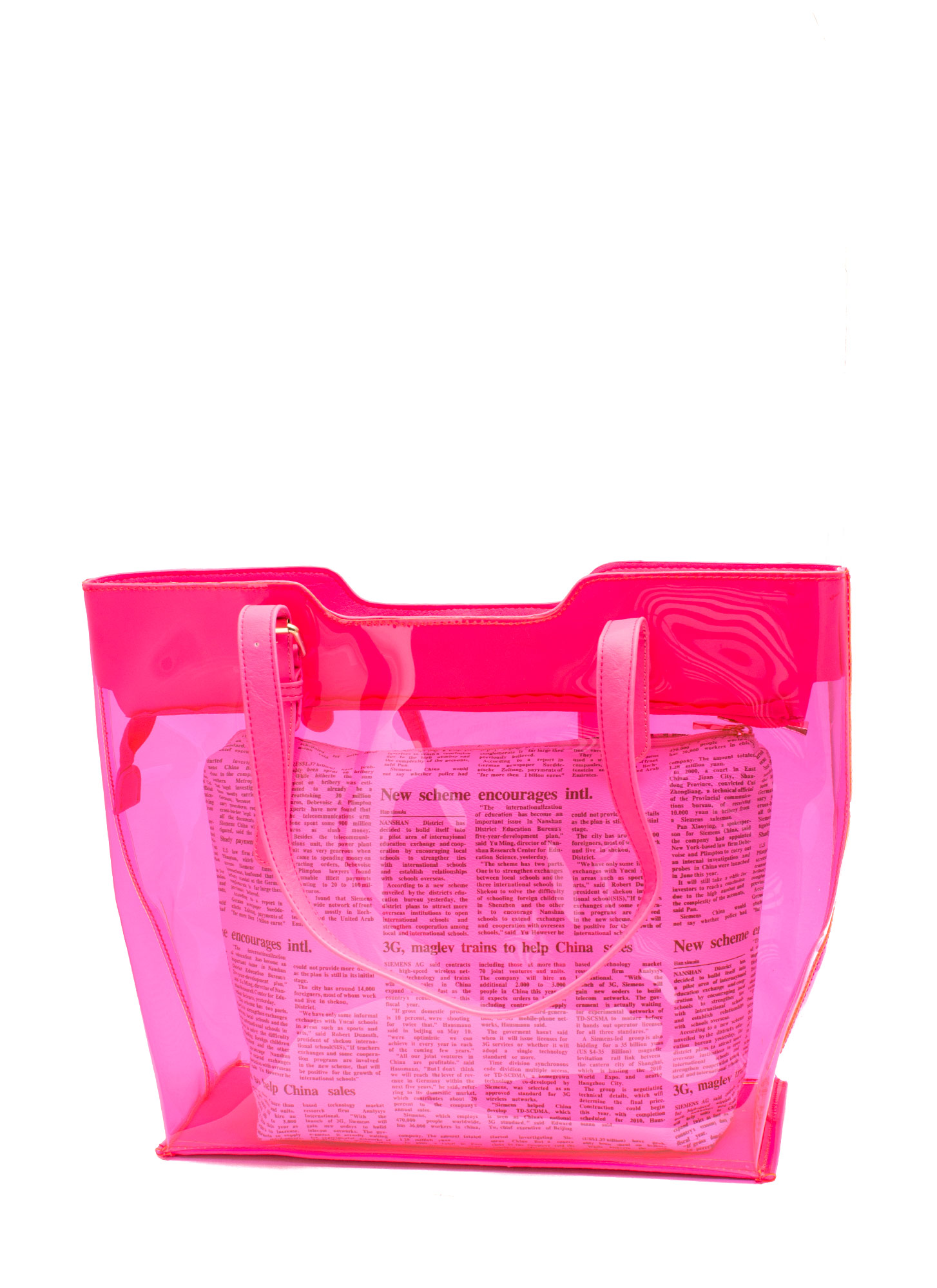 2-In-1 PVC Tote NEONPINK